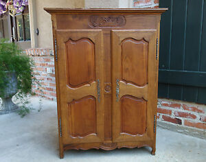 ... Antique French Carved Wood Child Doll Armoire Wardrobe