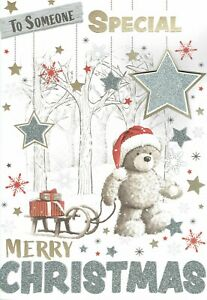 TO SOMEONE SPECIAL  - Quality LARGE CHRISTMAS CARD Male Bear and Sledge Design