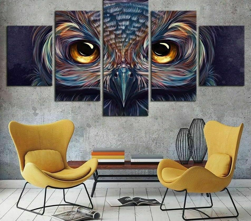 Owl Abstract Animal Five Piece Framed Canvas Drucken Home Decor Wand Kunst 5