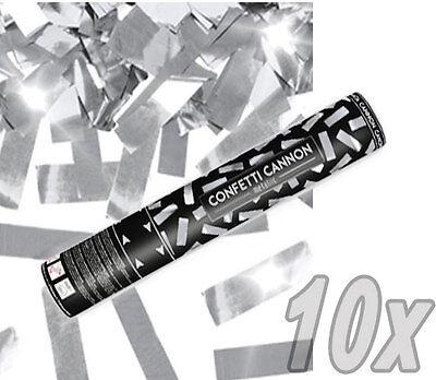 10x Party Popper Silber-Grün Konfetti Kanone Metallic Konfetti Party Shooter