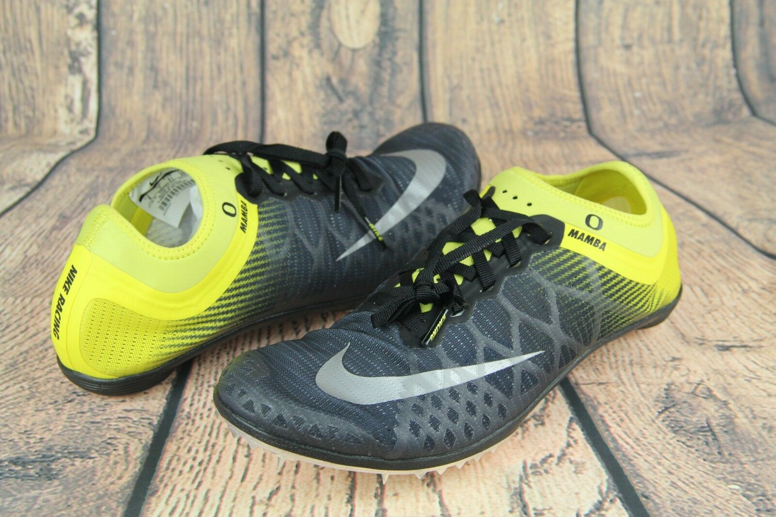 Nike Zoom Mamba 3 Oregon Ducks Track Spike Black Yellow 920762-007 Mens Size 8