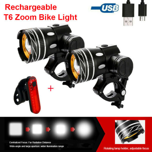 Tail Light Rechargeable 1500LM Bicycle LED Front Light Bike Zoom Highlight Head