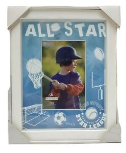"""Sports Theme 4"""" x 6"""" Picture Frame Hand Painted Football Basketball Baseball"""