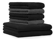Betz 6er Handtuch Set PREMIUM 2 Duschtücher 4 Handtücher 100% BW schwarz / grau