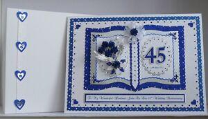 sapphire 45th 65th wedding anniversary card wife mum dad handmade