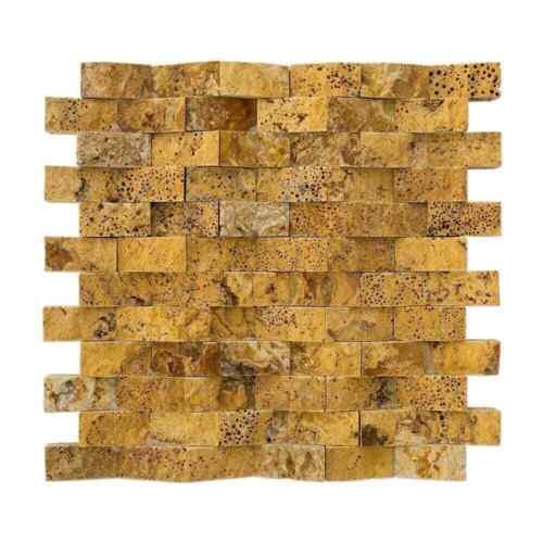 "Gold Pyramid Splitface Travertine Mosaic Sample Order 4/""x4/"" 1/""x2/""x5//8/"""