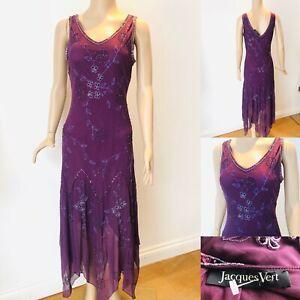 JACQUES-VERT-Dress-UK-10-Purple-Floral-Wedding-Occasion-Cruise-Embellished-Beads