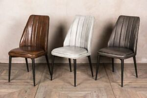 Image is loading LEATHER-LOOK-DINING-CHAIR-STITCHED-KITCHEN-CHAIR-MODERN- & LEATHER LOOK DINING CHAIR STITCHED KITCHEN CHAIR MODERN RESTAURANT ...