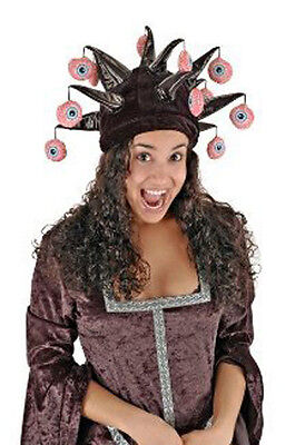 Creepy VERY HORNED Dangling Eyeball Jester Costume Hat cannibal halloween