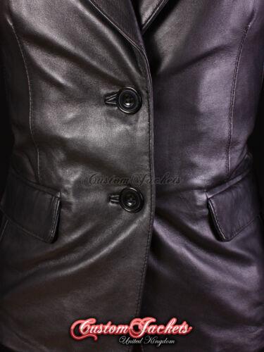 Señoras chaqueta elegante Inteligente Negro Sofia para Mujer Casual Real Cuero Chaqueta 3133