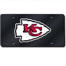 Kansas City Chiefs Black Mirrored Laser Cut License Plate Laser Tag