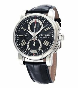 c516447f4e7 Image is loading MONTBLANC-STAR-Chronograph-Automatic-Black-Dial-Men-039-