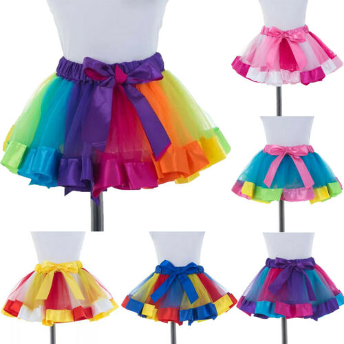 Womens Mini Multicolour Elastic 3 Layered Short Skirt Adult Tutu Dancing Skirt
