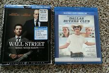 Lot of 2 Blu-ray / DVD's Dallas Buyers Club & Wall Street - Free Shipping!