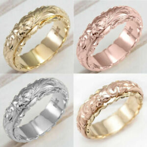 Fashion 18k Gold Flower Simple Rings Women Men Wedding Band Jewelry Size 5 11 Ebay