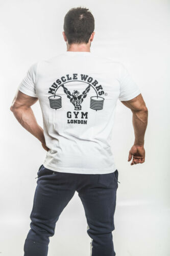 Muscle Works Gym London T-Shirt Fashion and Casual Wear Big And Tall Sizes White