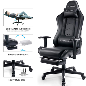 Stupendous Details About Gtracing Gaming Chair With Footrest Racing Office Chair Bralicious Painted Fabric Chair Ideas Braliciousco