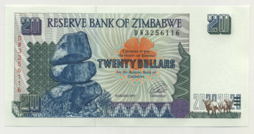 Zimbabwe 20 Dollars 1997 Pick 7.a UNC Uncirculated Banknote
