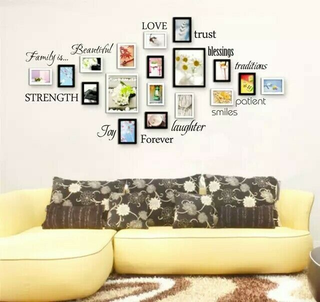 Family Words Wall Decal Set of 12 love trust blessing smile Quotes Vinyl Wall