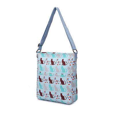 Ladies Fashion Oilcloth Cat Print Cross Body Shoulder Tote Satchel Messenger Bag