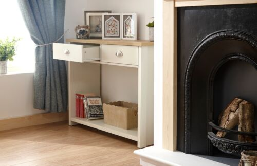 Cream and Oak 2 Drawer Console Table with shelf Hall Storage Lancaster Range