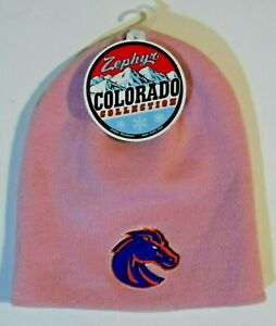 NWT - Zephyr Colorado Collection BOISE STATE BRONCOS Pink Beanie Hat