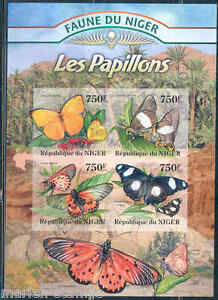 NIGER 2013 FAUNA OF AFRICA BUTTERFLIES SHEET MINT NH IMPERFORATED