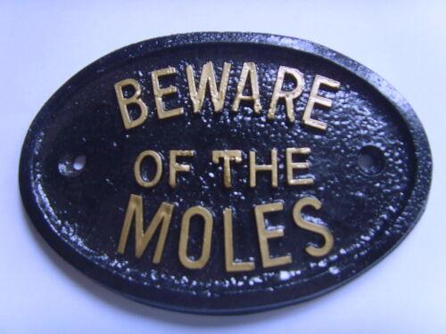 BEWARE OF THE MOLES HOUSE SIGN  TRAP GARAGE PLAQUE