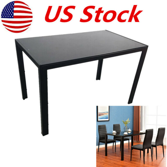 Square Shape Simple Assembled Tempered Glass /& Iron Tube Dinner Table Black