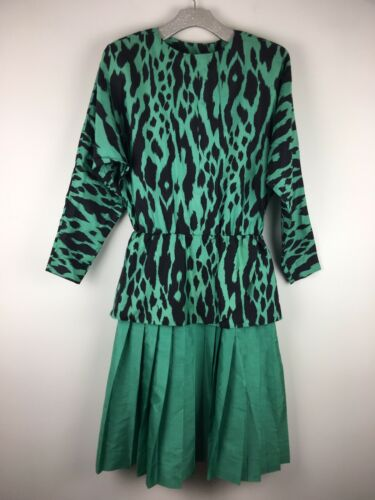 Vintage Thai Silk Green Print Dress Drop Waist Jim