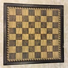 Early Framed Gameboard Chess Checkers Under Glass in Frame Wood or Tile Playing