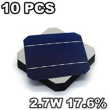 10 Pcs 5 x 5 Solar Cells 17.6% 2.7W Mono 125MM Grade A For DIY Solar Panel