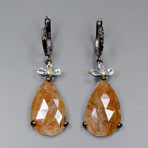 Sapphire Earrings Silver 925 Sterling Handmade  /E42423