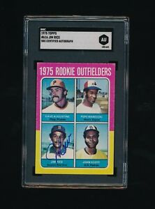 1975 TOPPS #616 Jim Rice SGC Certified Autograph ROOKIE rc centered EX HOF sox