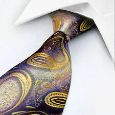GIFTS FOR MEN Classic Mens Paisley Floral Silk Necktie Work Tie Gold Purple