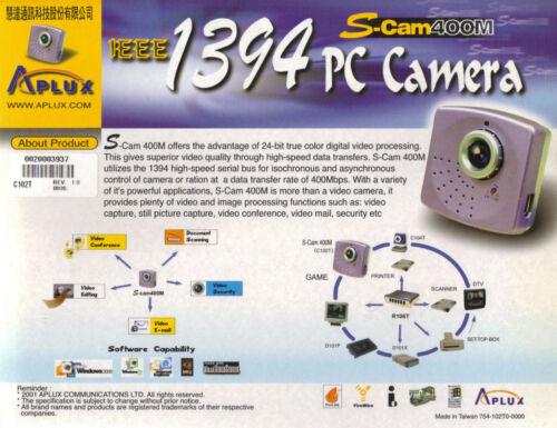 IEEE 1394 Fire Wire PC Camera Webcam S-Cam 400M