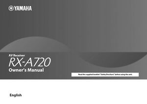 yamaha a 720 owner's manual for