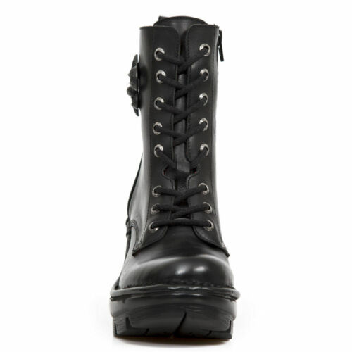 New Rock Newwrock M.NEOTYRE07-S1 Black Leather Boots Punk Gothic Cyber Shoes