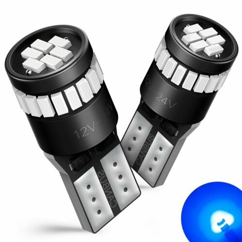 AUXITO 2x T10 501 w5w BLUE Colour 24 SMD LED Wedge Interior Light Bulb CANBUS
