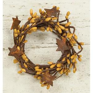 "2"" Primitive Rustic Gold Pip Berry & Rusty Tin  Star Mini wreath, Candle Ring"