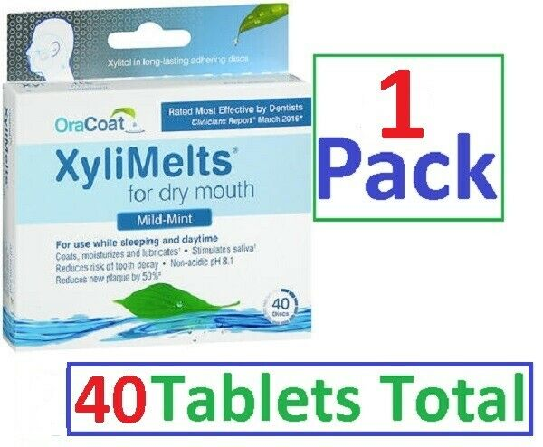 Xylimelts Dry Mouth Discs MILD MINT 40ct ALWAYS FRESH!