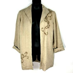 Coldwater Creek 20 linen jacket blazer embroidered open lagenlook khaki tan 1X
