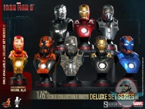 1 6 Iron Man 3 Series Series Series 2 Deluxe Set of 8 Collectible Bust Hot Toys 1432e9