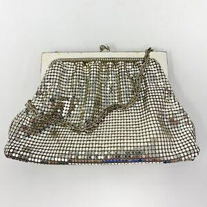Vintage 1950s Whiting & Davis Silver Mesh Purse Chain Strap With Original Mirror