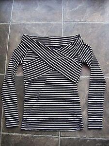 BNWT-Women-039-s-Cotton-On-Black-amp-White-Stripes-Long-Sleeve-Top-Sizes-S-amp-M