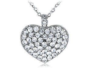 Clear-Crystal-Rhinestones-Encrusted-Ice-Bling-Big-Heart-Shape-Pendant-Necklace