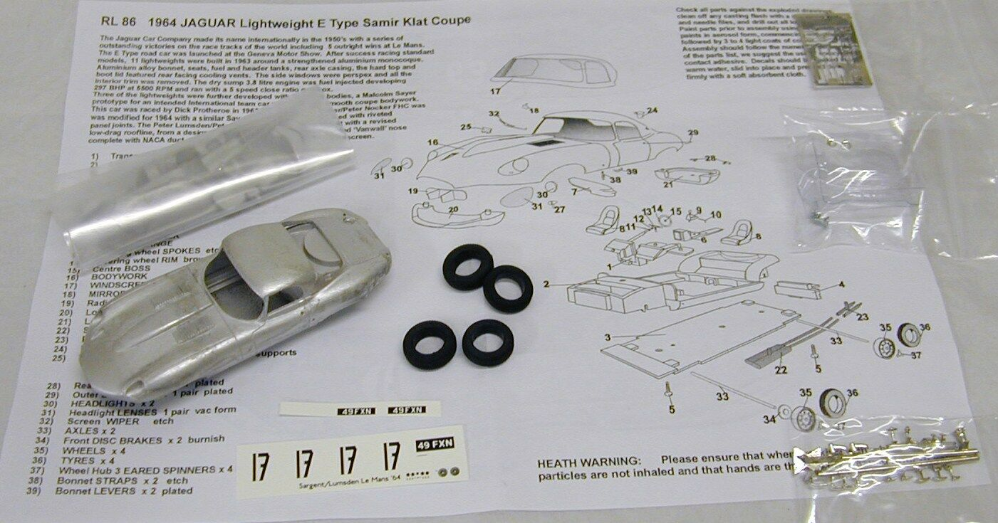 1 43 rl86k JAGUAR E-TYPE LIGHTWEIGHT Samir KLAT LOW DRAG Coupé KIT BY SMTS