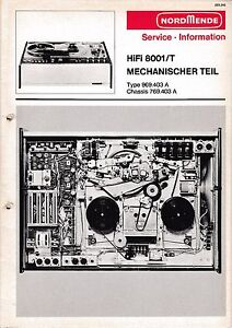 969.403 A Gehorsam Service Manual-anleitung Für Nordmende Hifi 8001 T