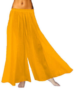 0850f99899b Details about GOLDEN YELLOW Palazzo Soft Flare Wide Leg Solid High Waist  Fold over Yoga Pant