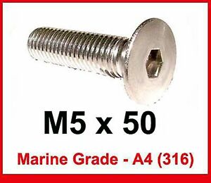 M6 x 50 Stainless Countersunk Bolts 6mm x 50mm Flat A4//316 Marine Stainless x10